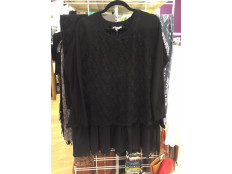 Black Chiffon Bottom Sweater