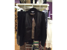 Black Jacket with Leather Detail